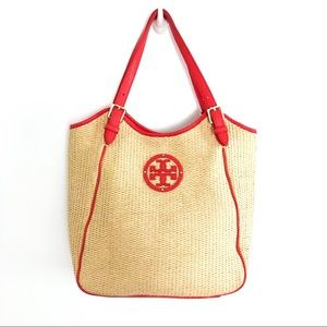 {TORY BURCH} Woven Straw Orange Leather Tote
